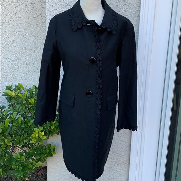 Kate Spde Floral Lace Trim Black Coat Size 00